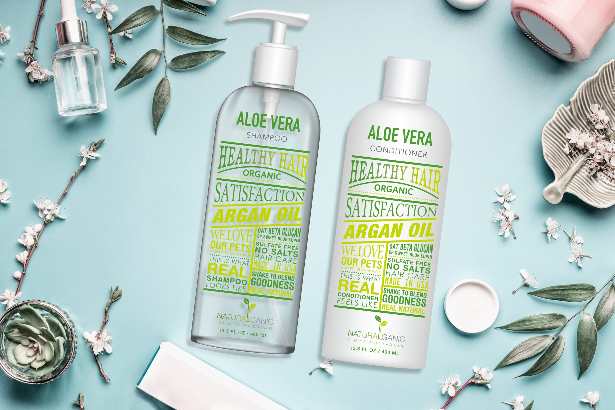 Naturalganic bottles of Aloe Vera, packaging designed by Canyon Creative