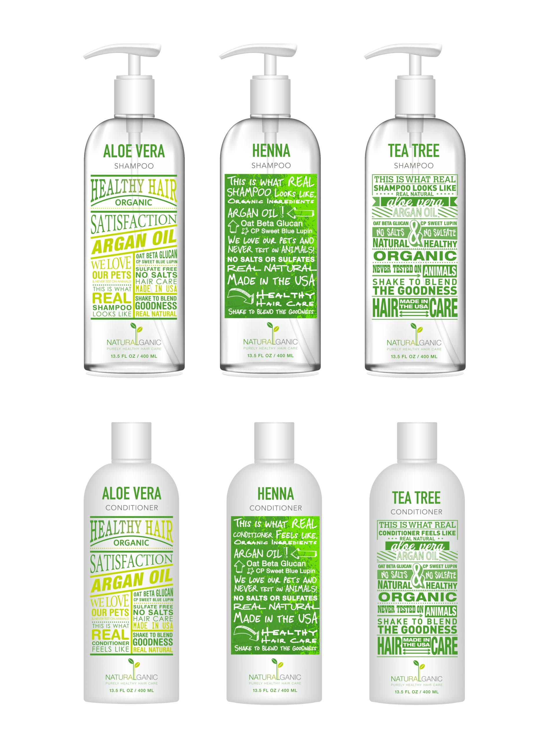 Naturalganic branded shampoo bottles