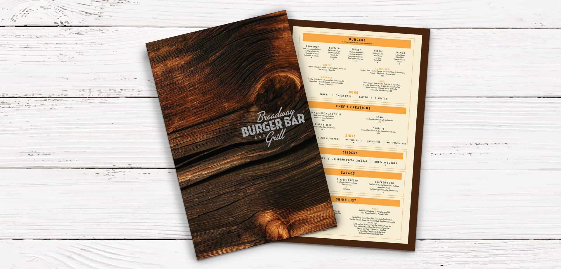 Broadway Burger Bar and Grill menu