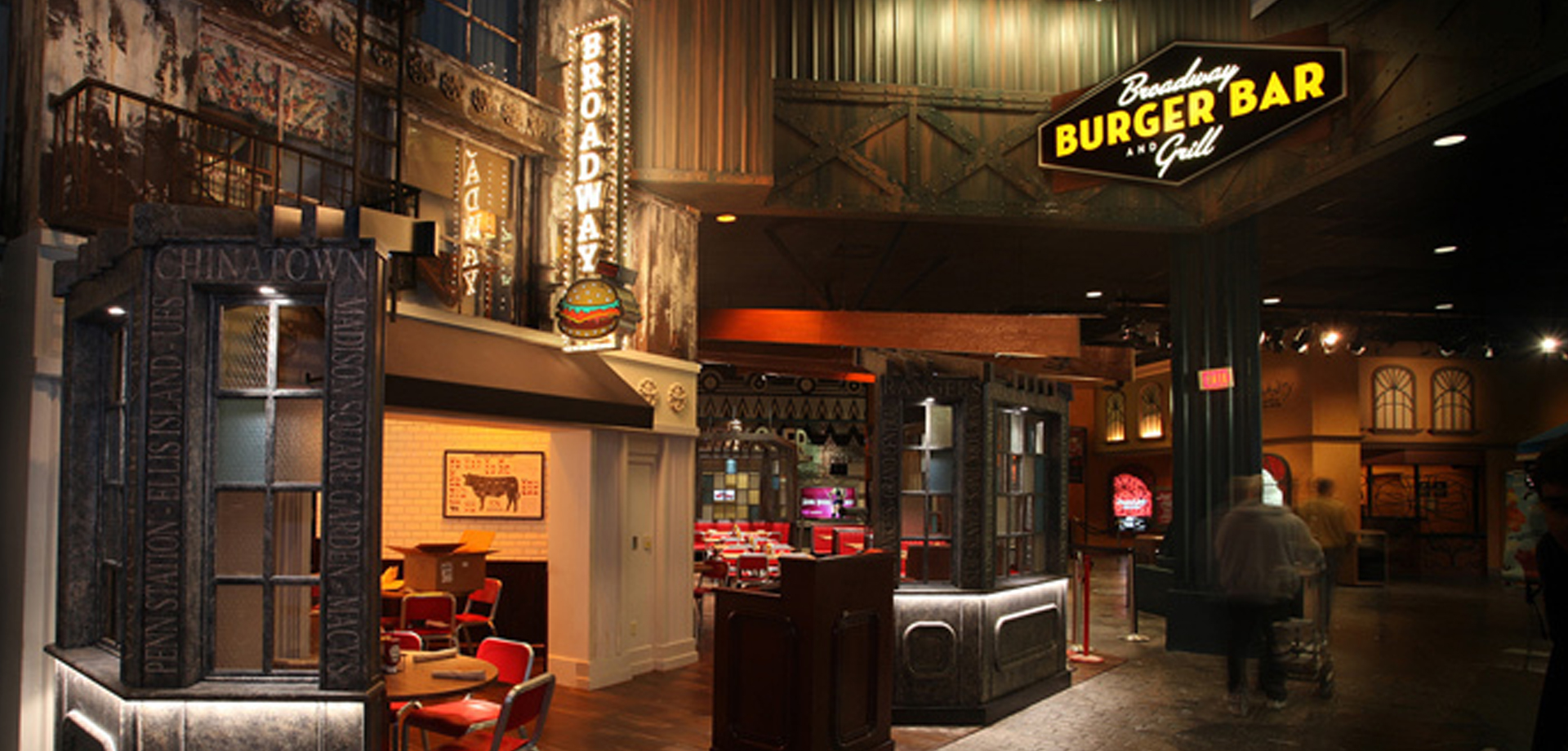 The exterior of the Broadway Burger Bar and Grill restaurant inside the New York New York hotel