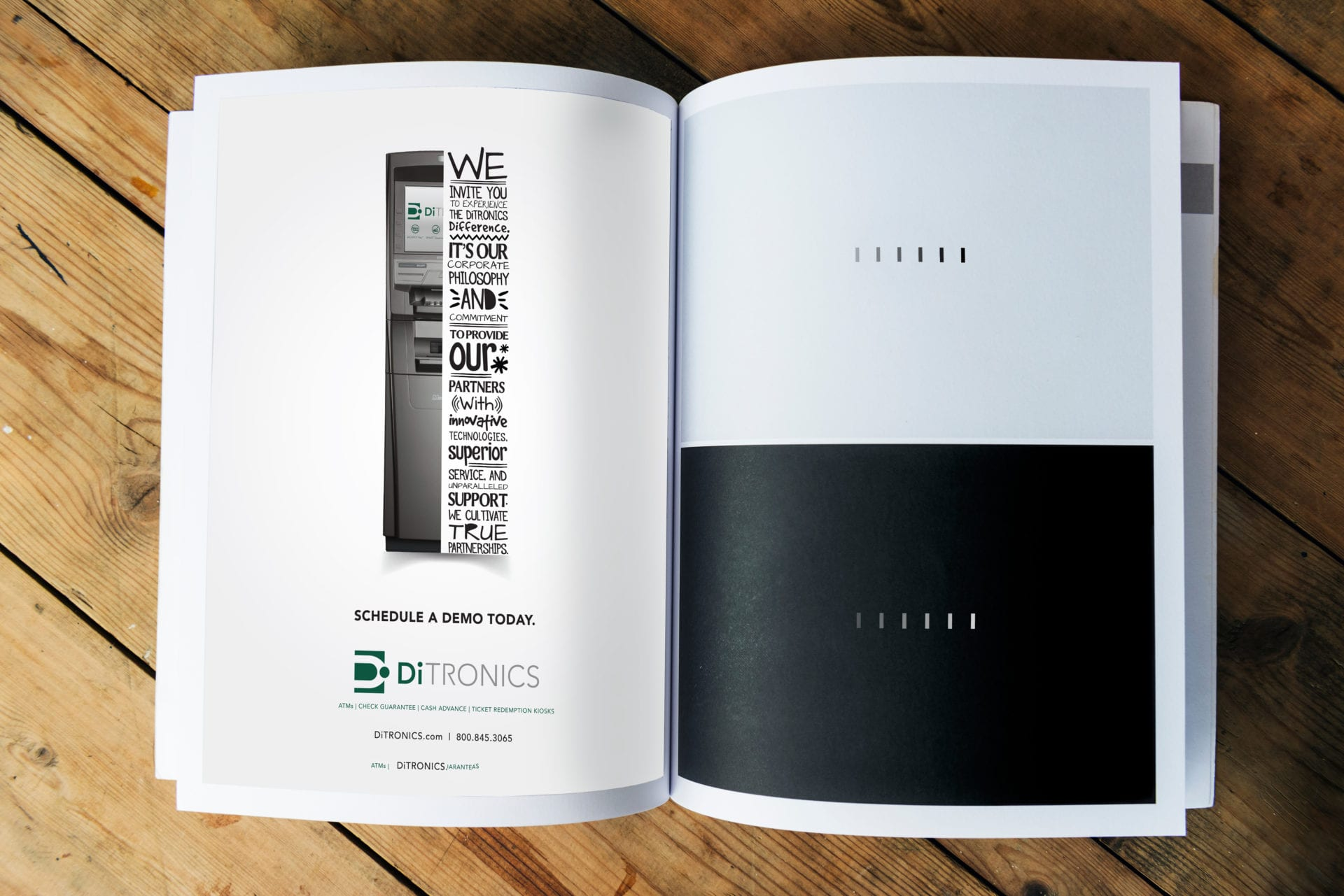 A magazine open with a advertisement for DiTronics, designed by Canyon Creative