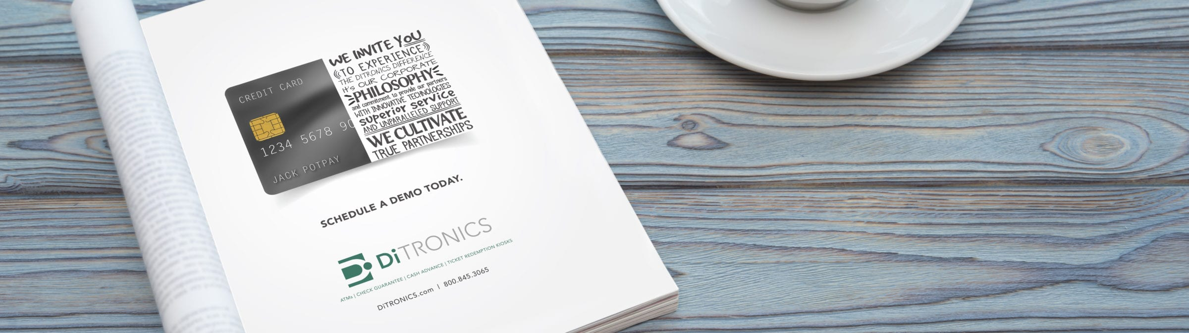 A DiTronics advertisement in a magazine and a cup of coffee