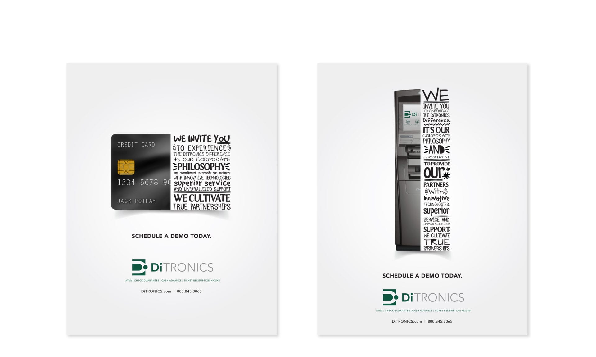 2 pages of examples of the DiTronic Print Ad campaign