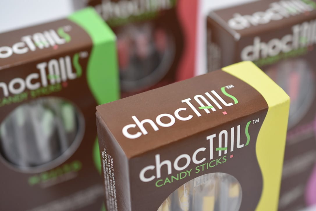 The top view of the Choctails Candy Sticks packaging, designed by Canyon Creative