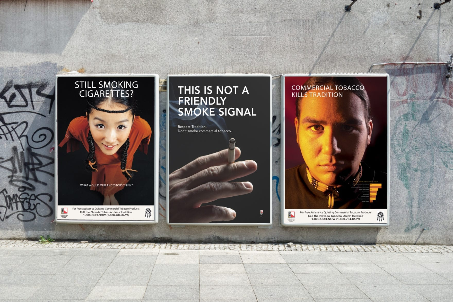 3 posters on display for the Nevada Tobacco Prevention Coalition campaign, designed by Canyon Creative