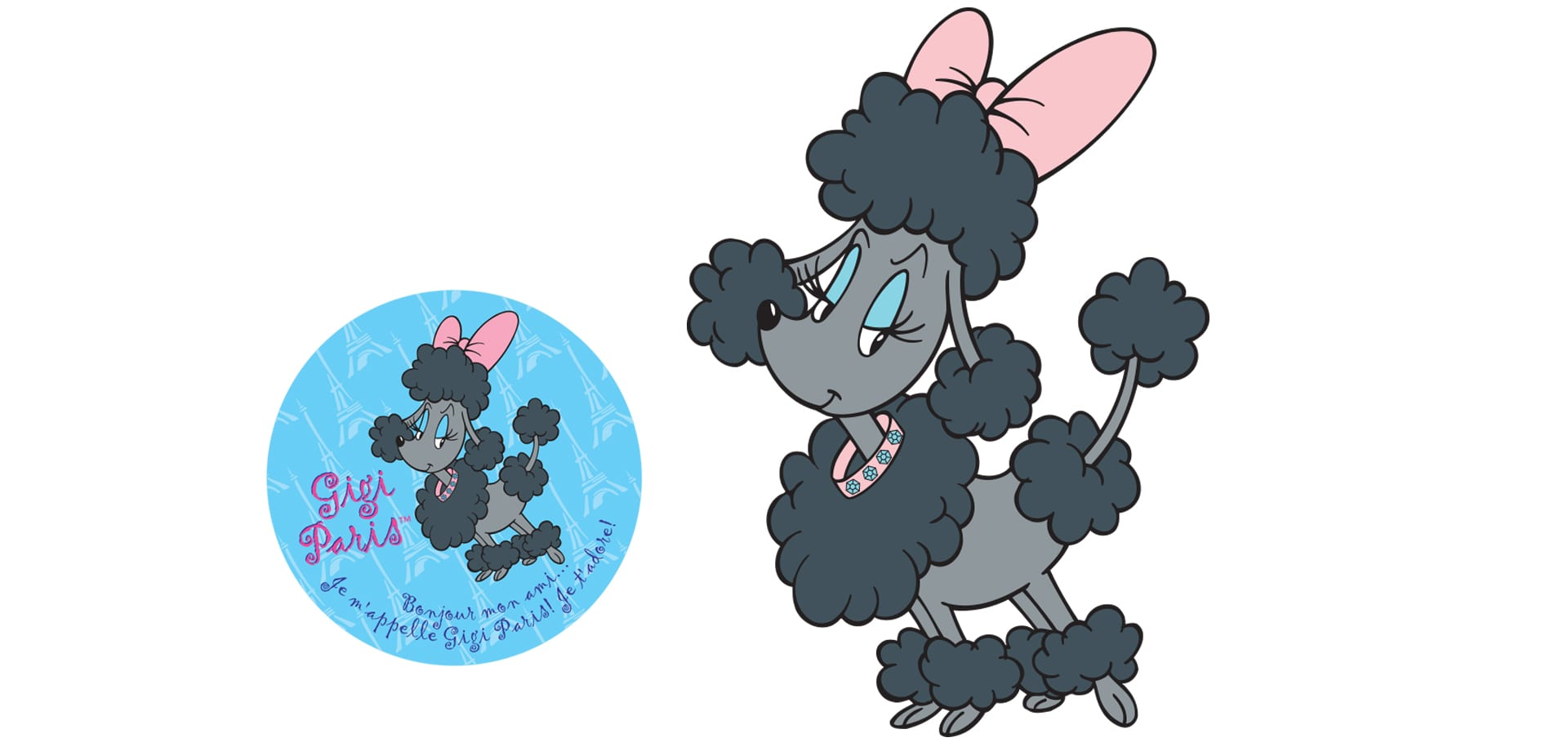 An illustration of Gigi the French Poodle