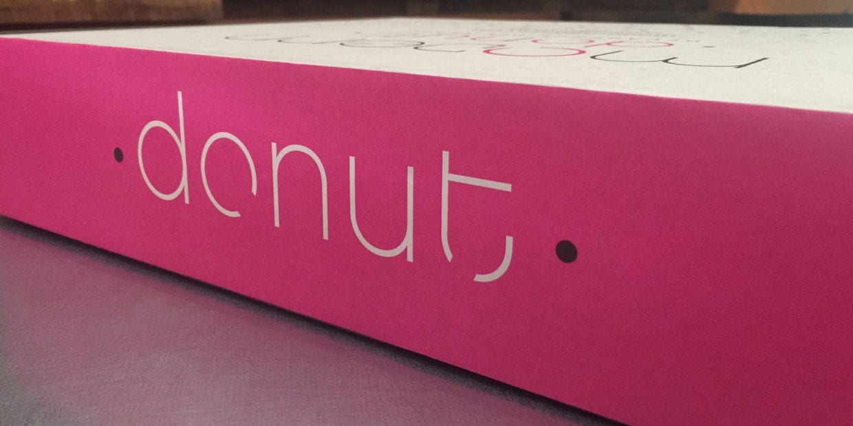 The side of a Modern Donut box