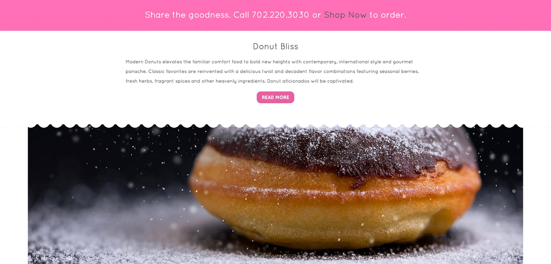 A screenshot of the Modern Donut website designed by Canyon Creative