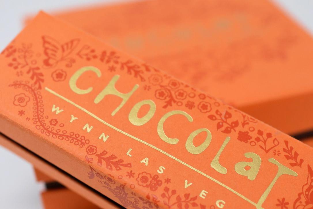 A closeup of the Chocolat Wynn Las Vegas logo