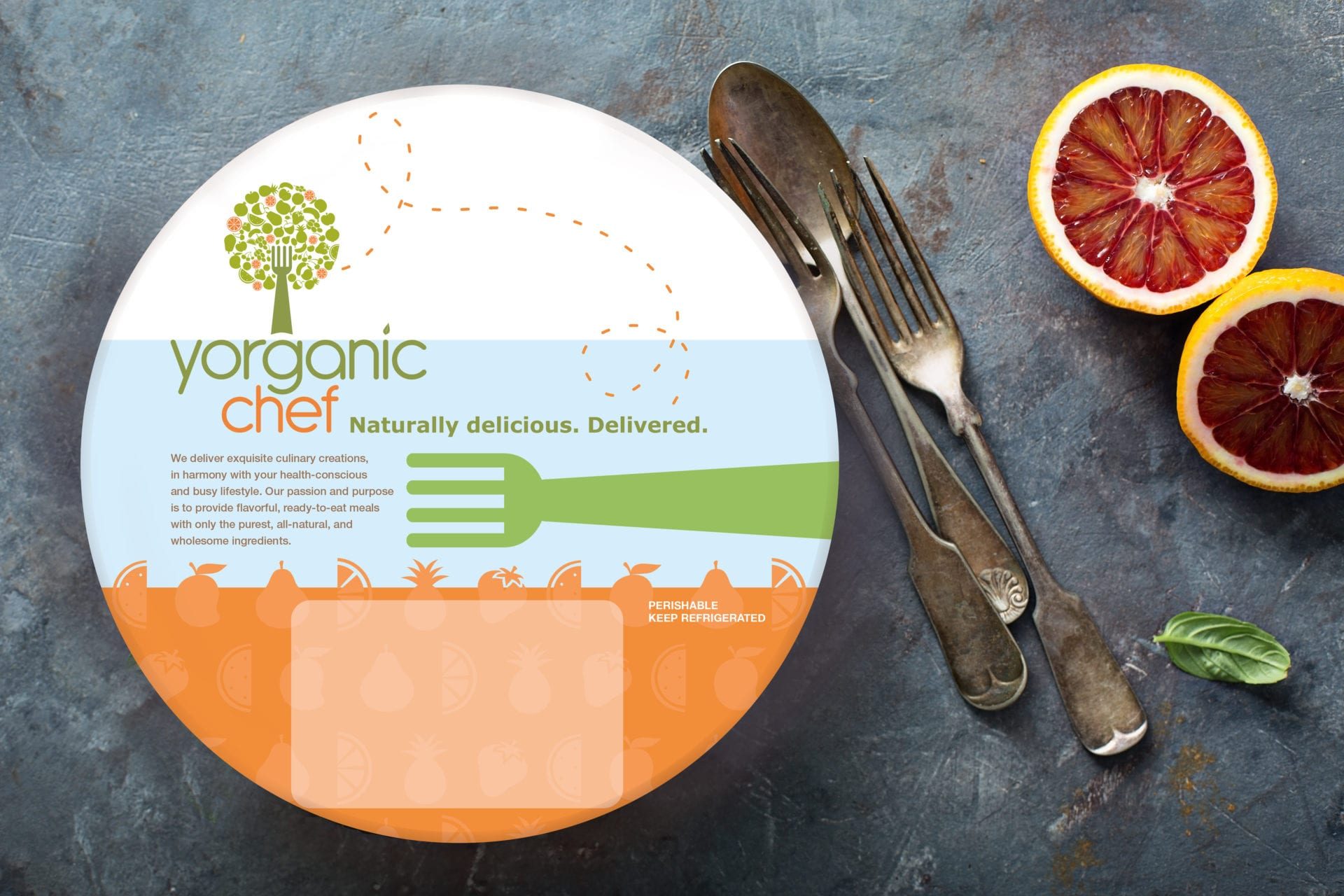A Yorganic Chef branded food bowl