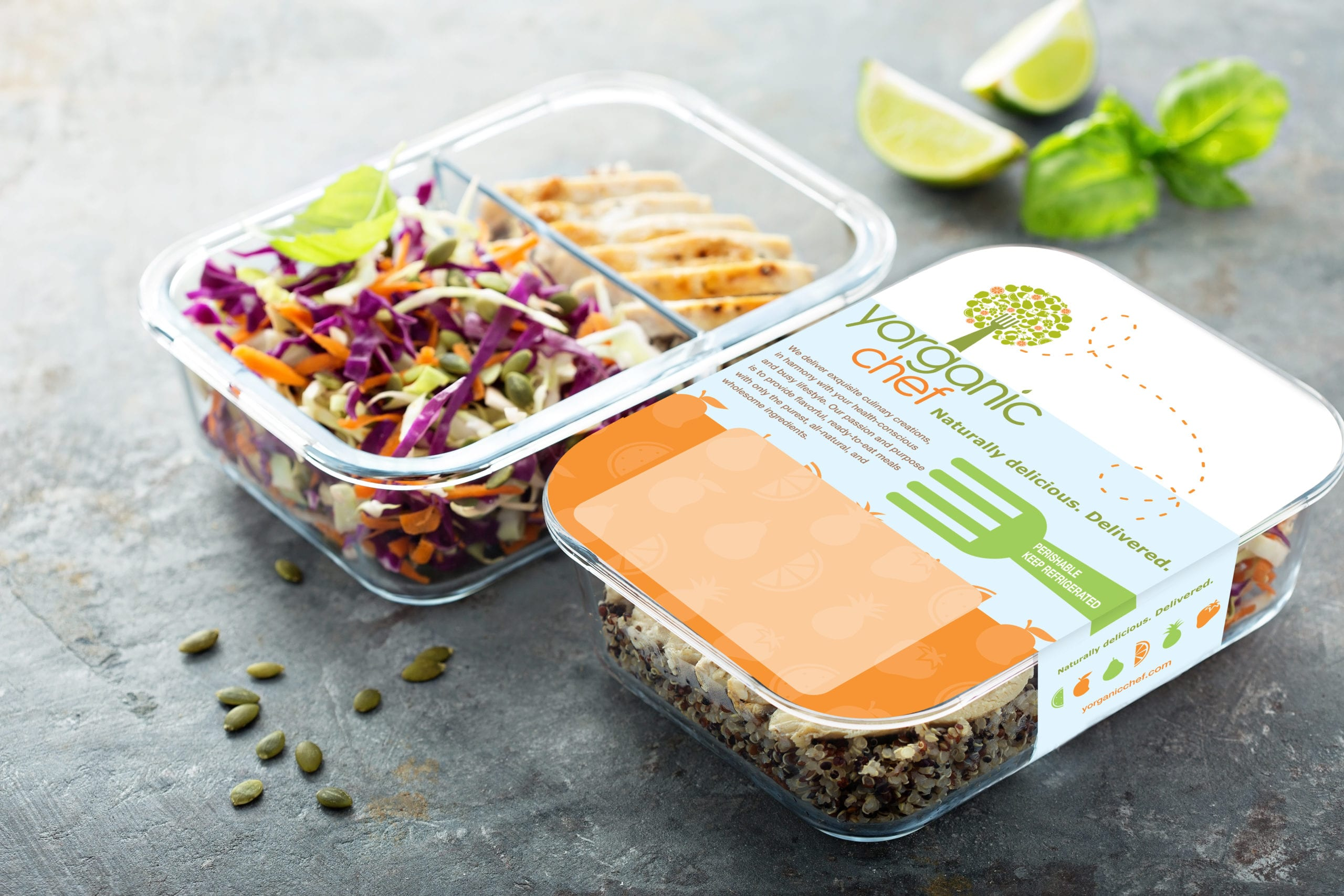 A Canyon Creative work of the packaging of a salad from the Your Organic Chef brand.