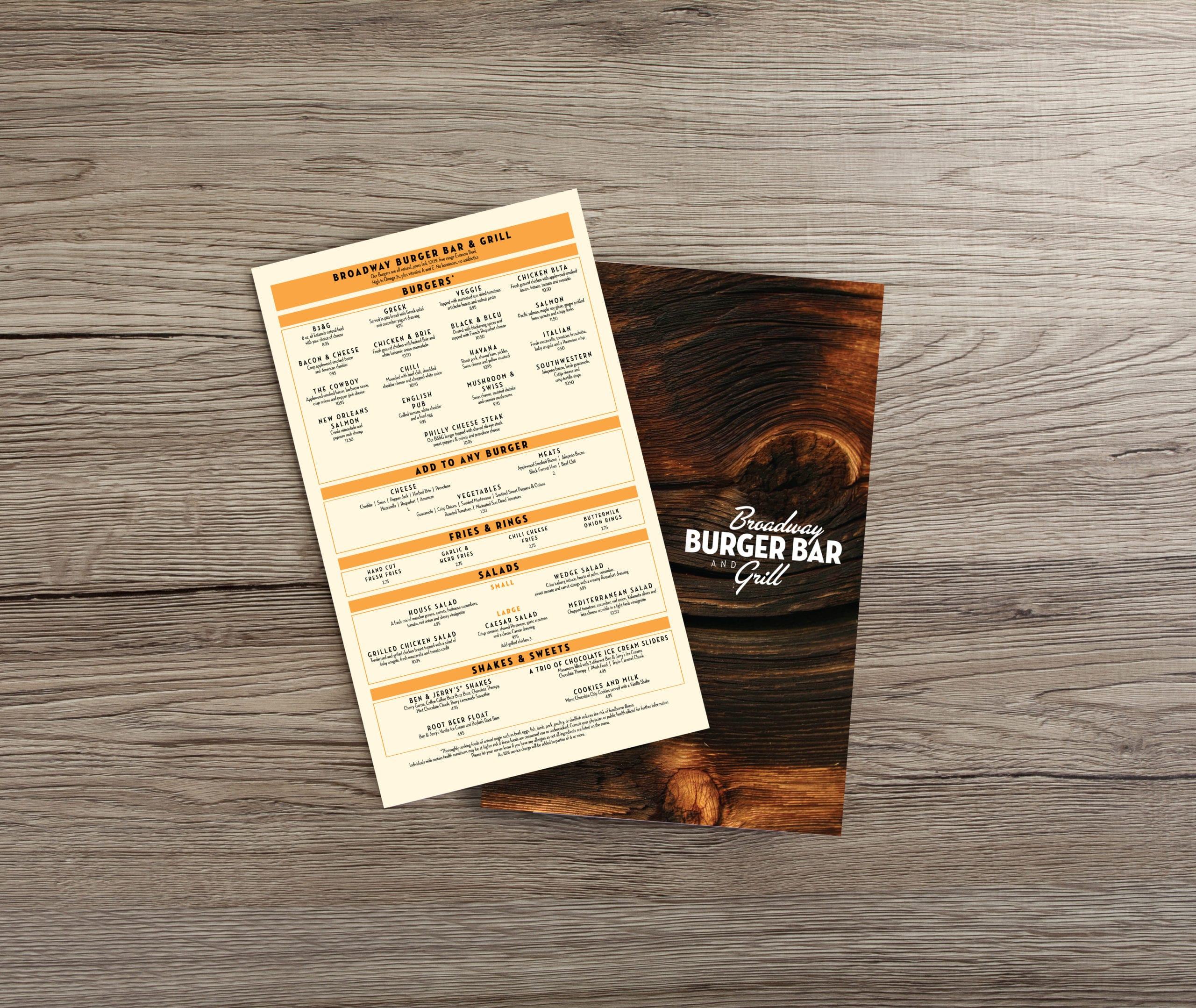 The menu of the Broadway Burger Bar and Grill, designed by Canyon Creative