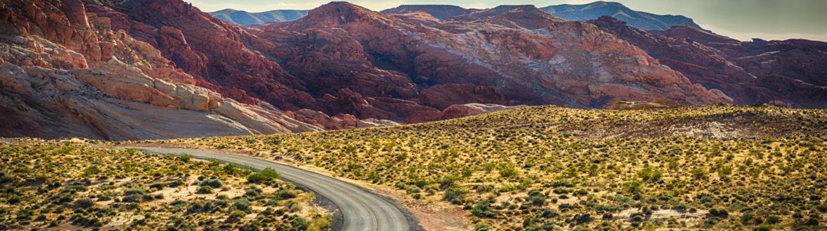A winding road in the desert.