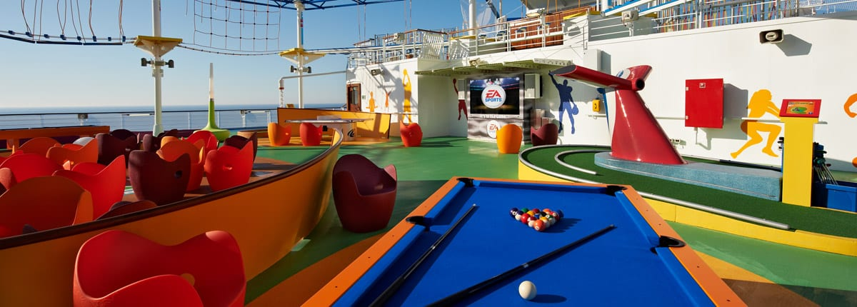 The deck of a Carnival Cruise Line ship featuring Sports Square
