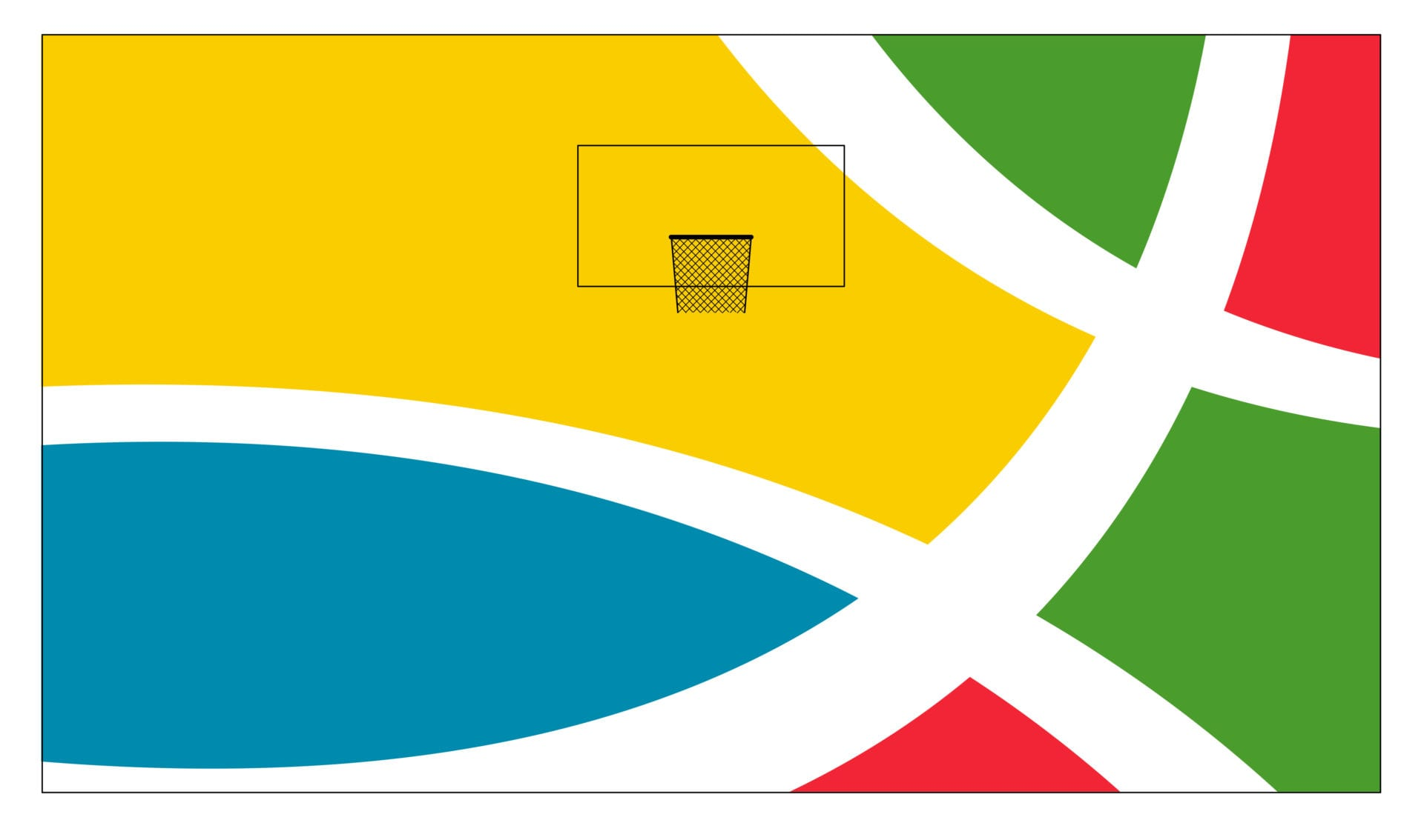 Sports Square basketball hoop concept.
