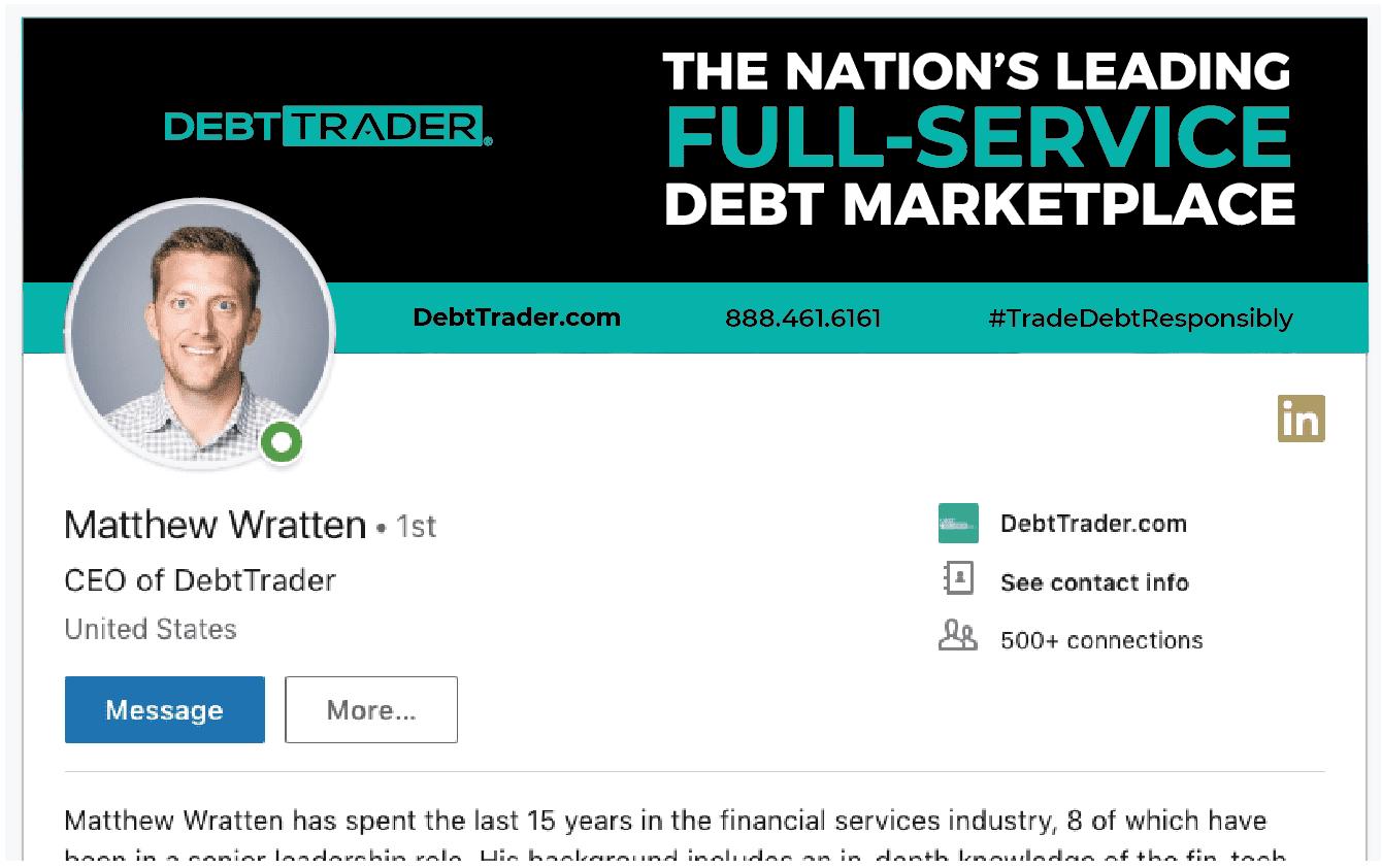 DebtTrader employee LinkedIn header graphic
