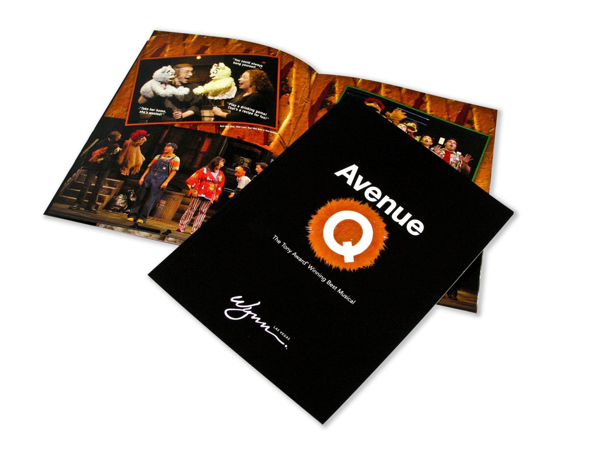 A magazine for Avenue Q musical at the Wynn Las Vegas, designed by Canyon Creative