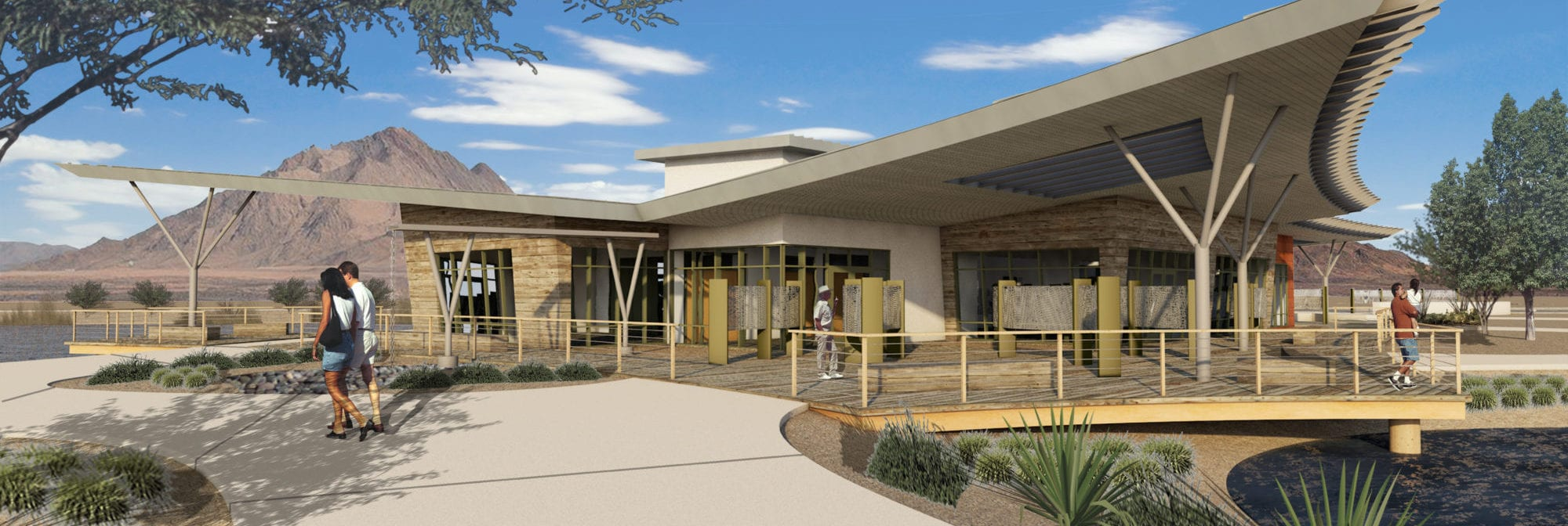 A rendering for the new building at the Henderson Bird Viewing Preserve, designed by LGA Architecture