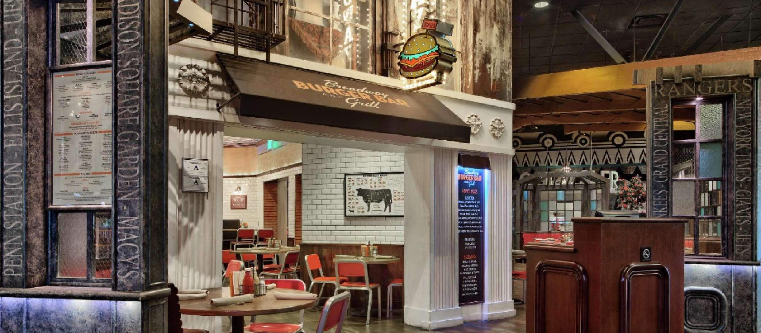 The front entrance to Broadway Burger, restaurant brand developed by Canyon Creative