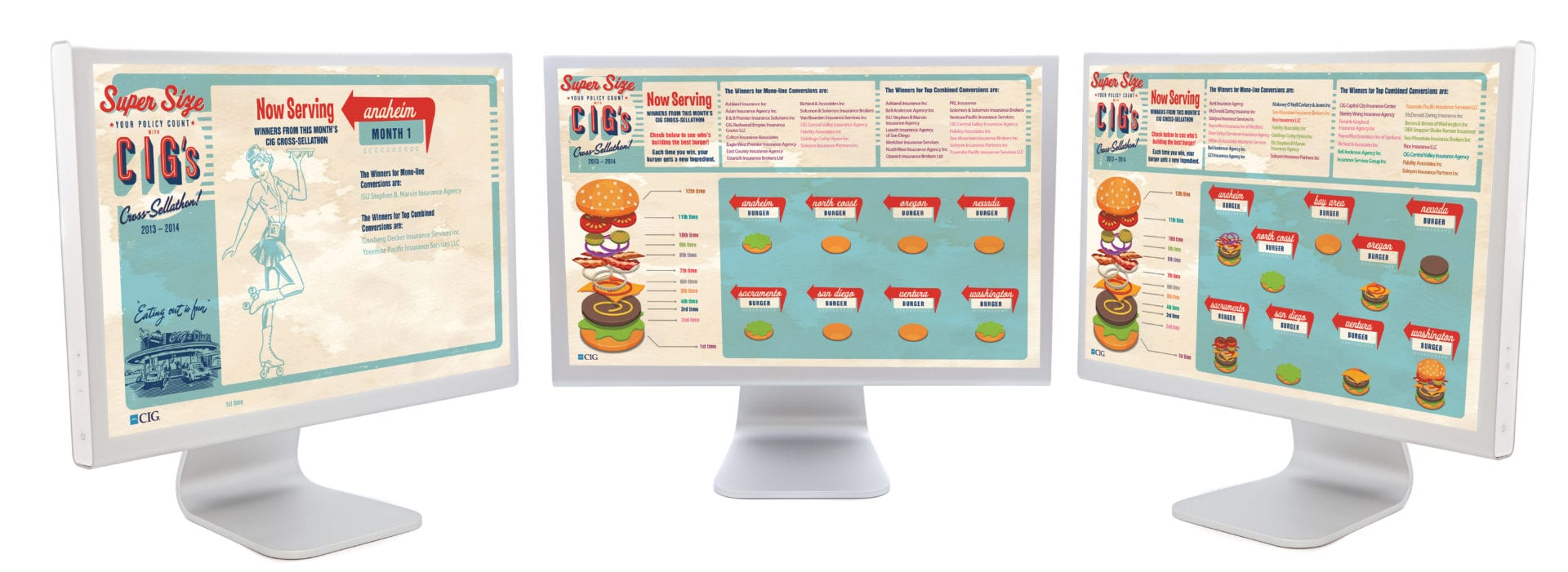 3 monitors with vintage restaurant menu graphics