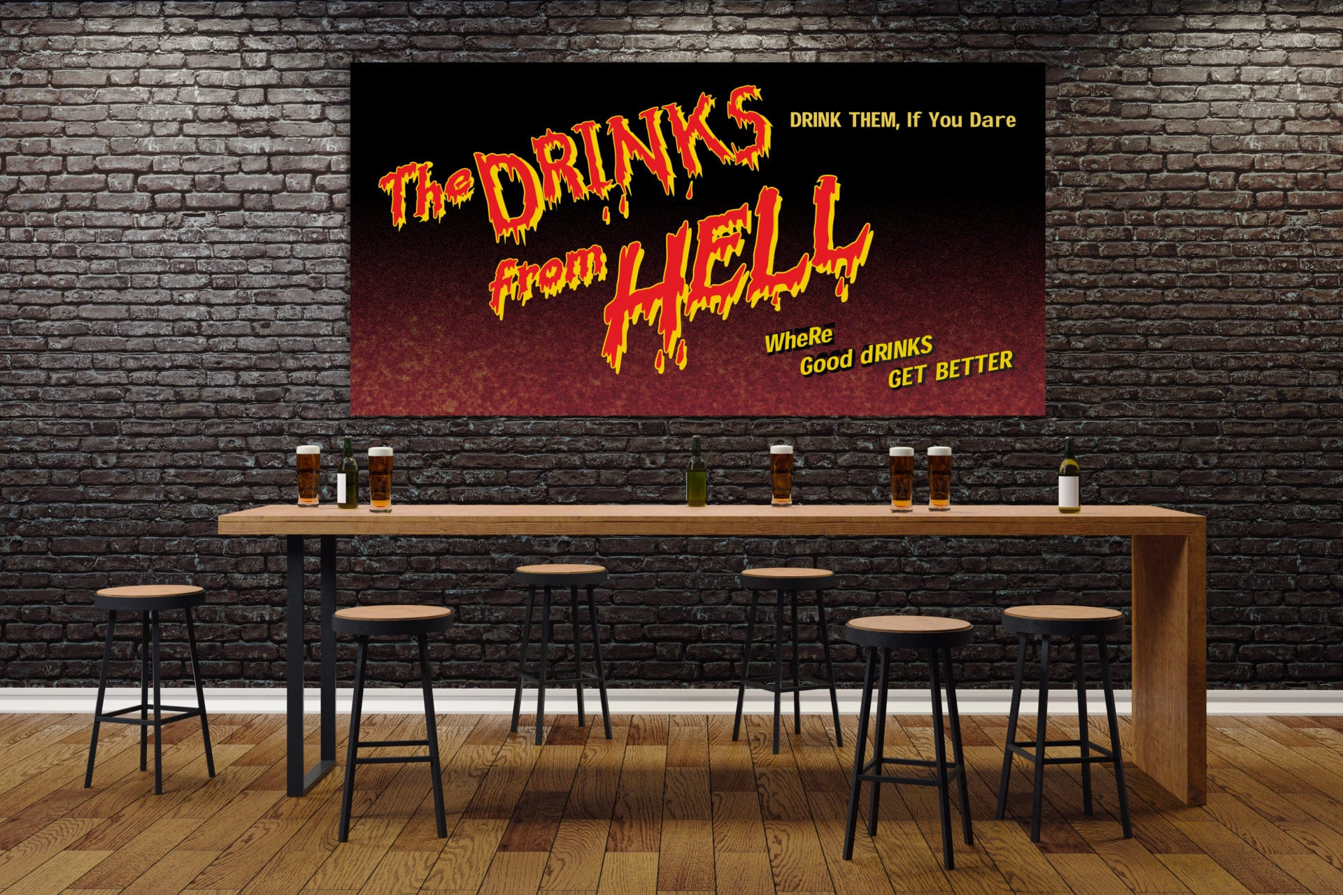 """The Drinks from Hell"" poster designed for the party"