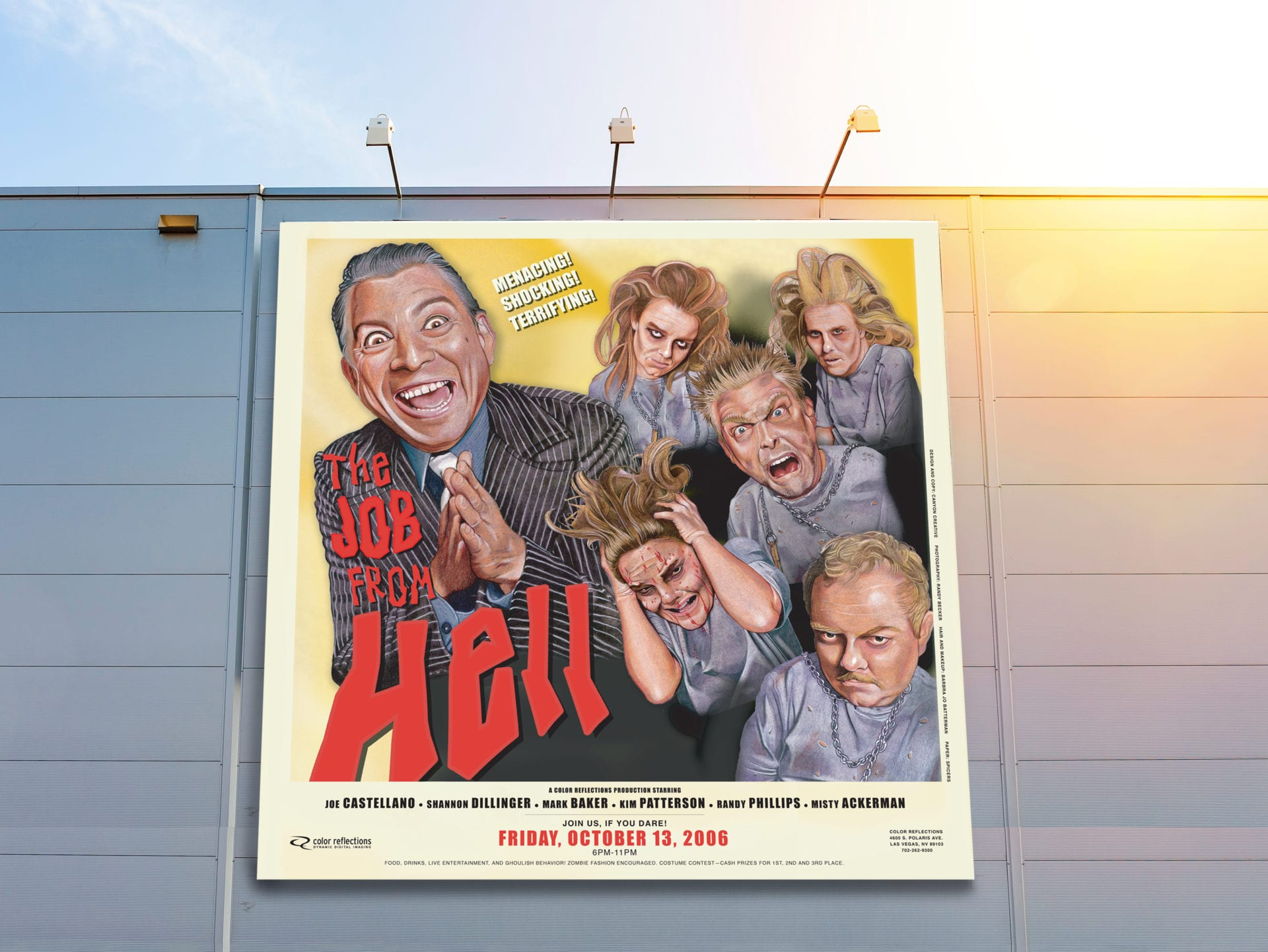 "A billboard with ""The Job from Hell"" poster designed for Color Reflections"