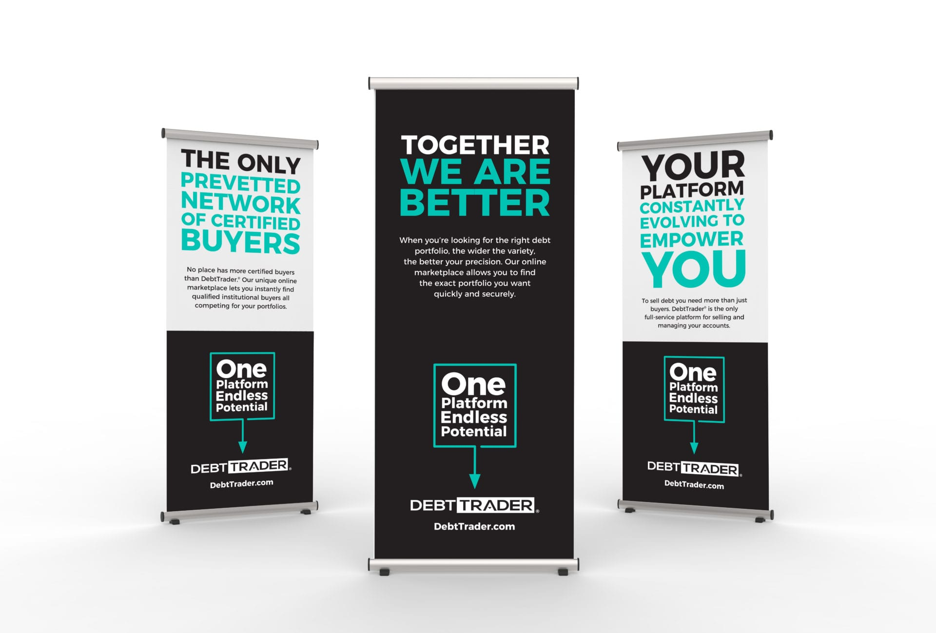 DebtTrader sign stands designed by Canyon Creative