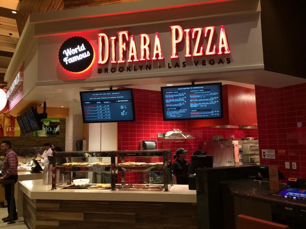 The front of  DiFara Pizza at the Caesars Palace Forum Food Court