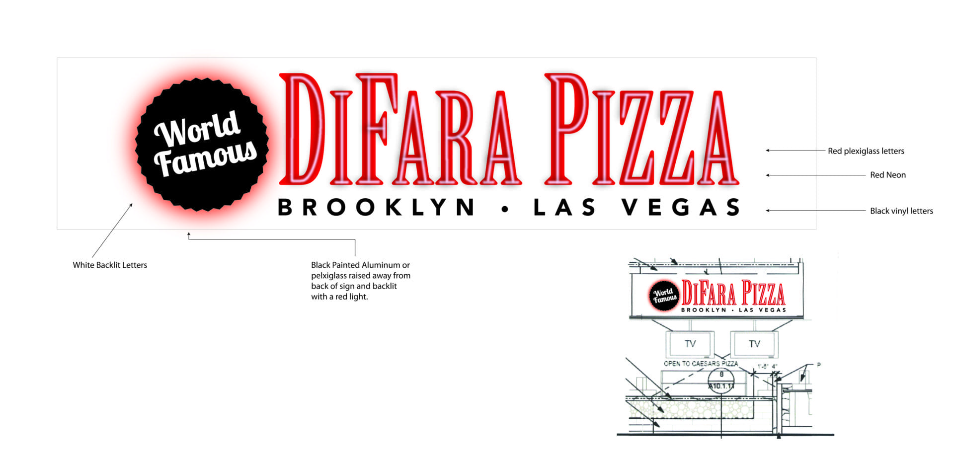 DiFara Pizza overhead sign design