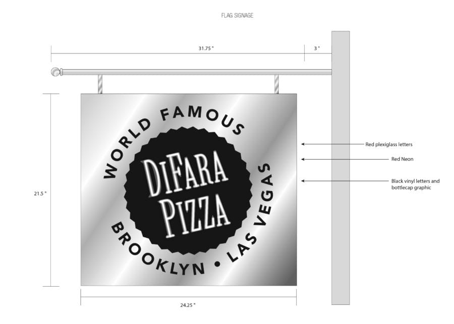 DiFara Pizza flag signage rendering