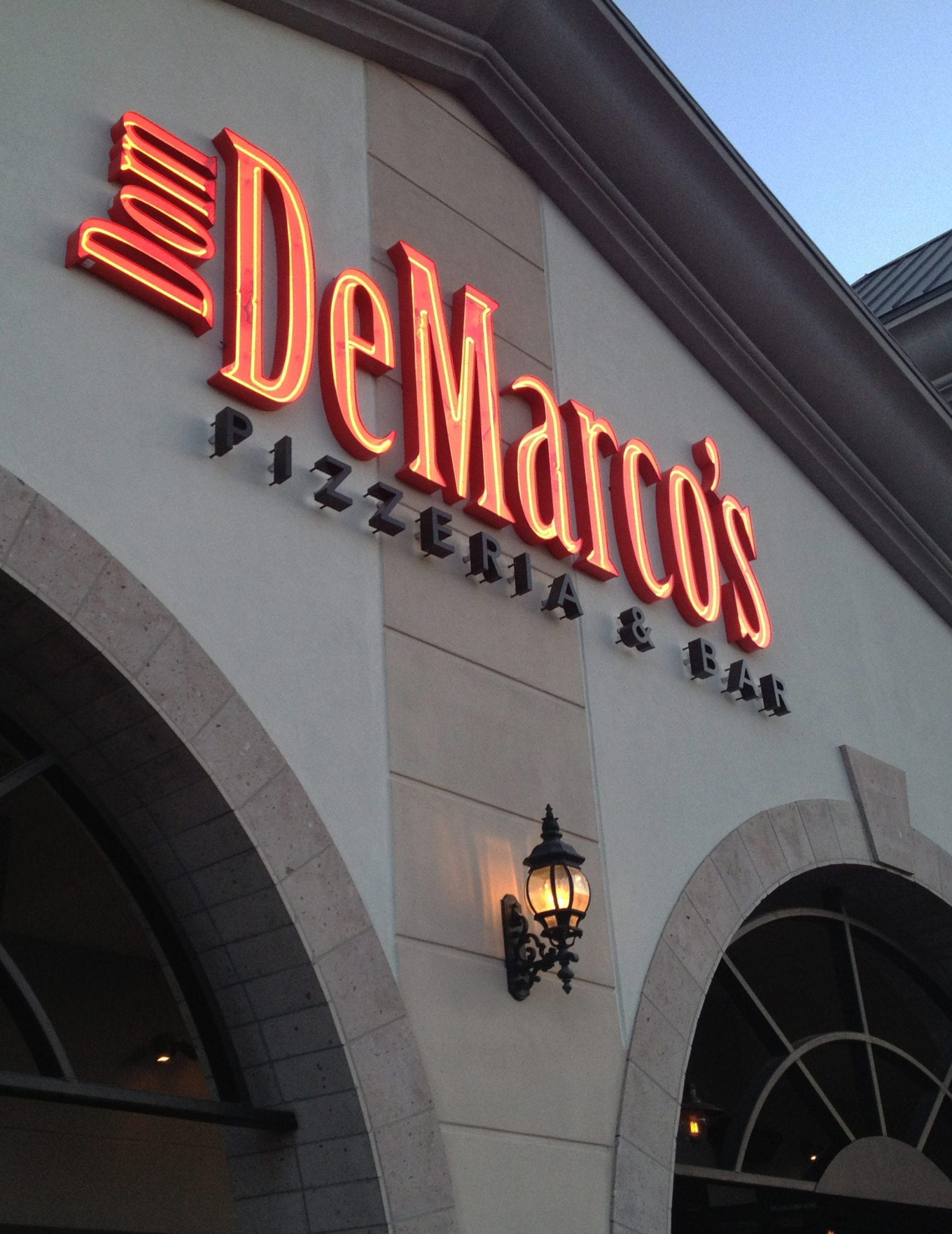 The outside signage for Dom DeMarco's Pizzeria and Bar