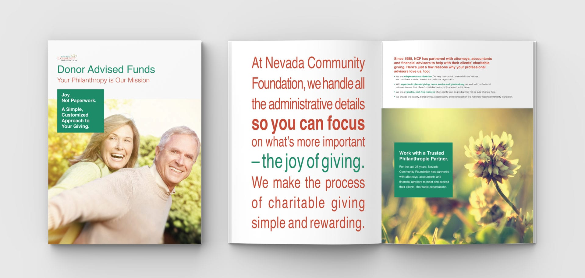The brochure for the Nevada Community Foundation, opened