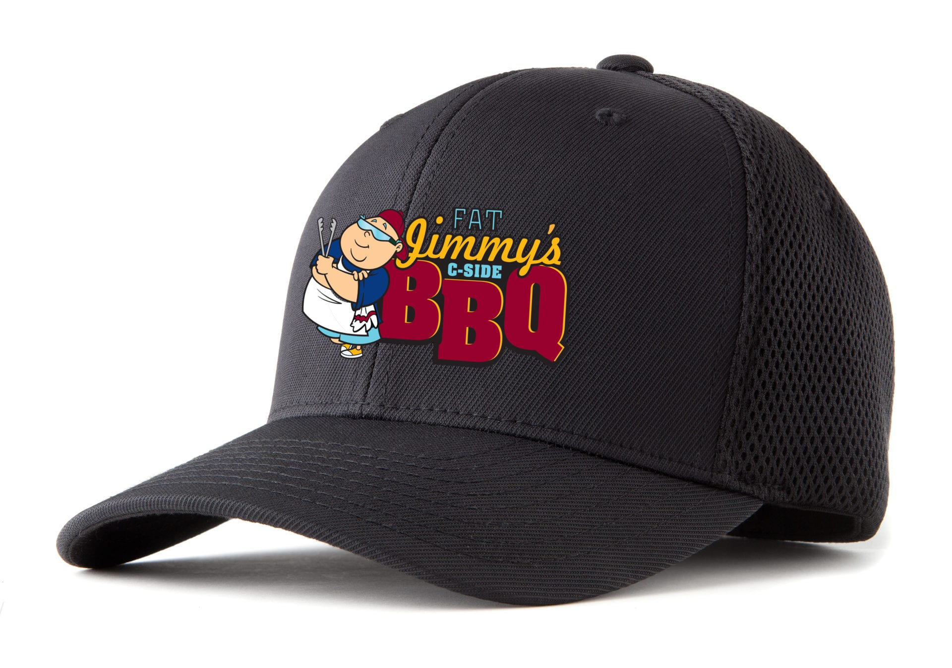 A baseball cap with the Fat Jimmy's C-Side BBQ logo