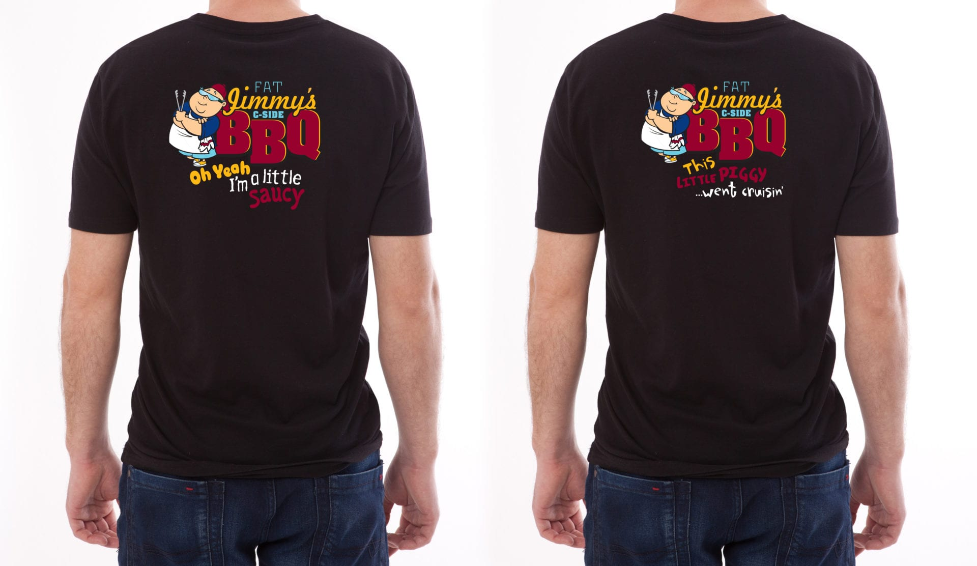 A black t-shirt with Jimmy's C-Side BBQ logo.