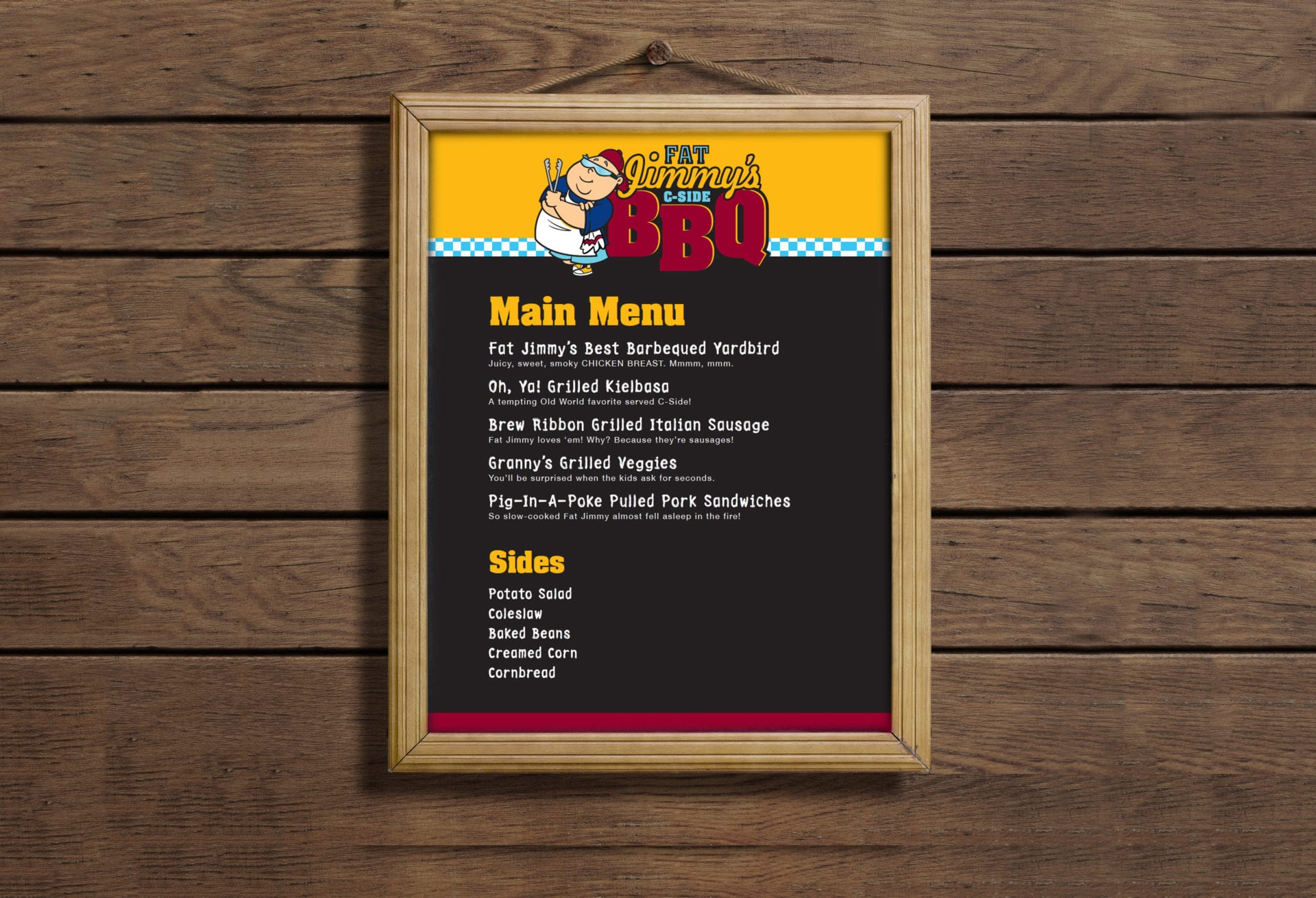 The menu design of Fat Jimmy's C-Side BBQ on the Carnival Cruise Line