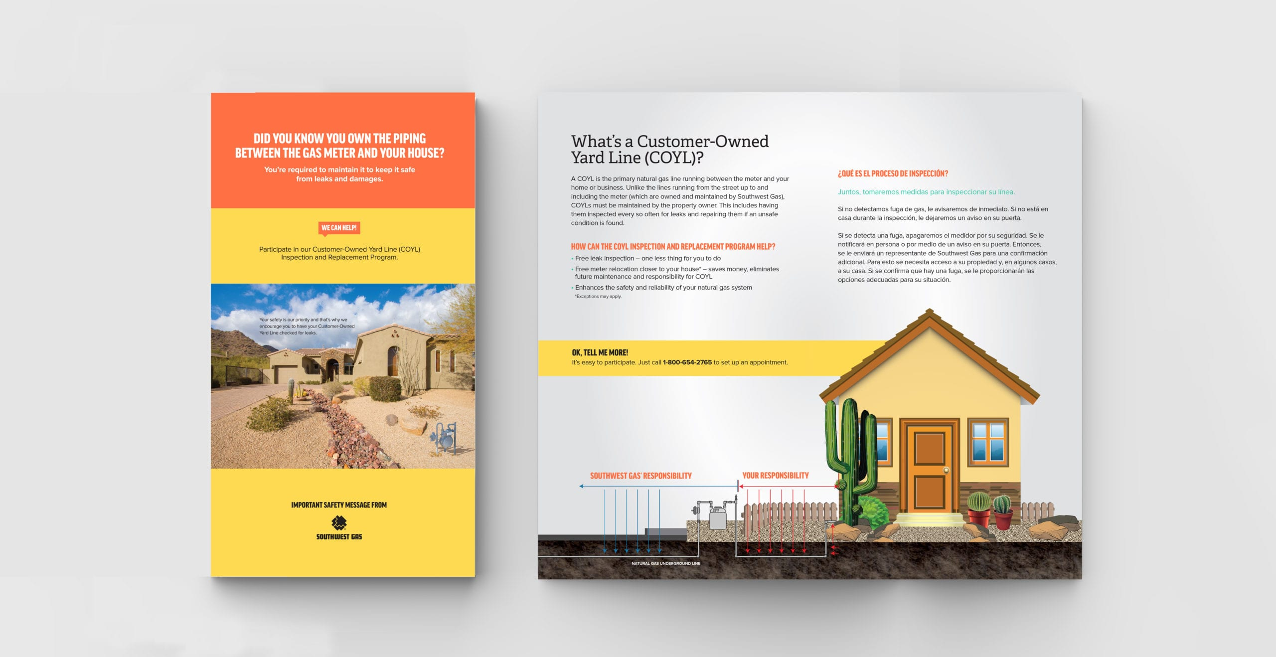 Customer-Owned Yard Line (COYL) brochure designed by Canyon Creative for Southwest Gas.