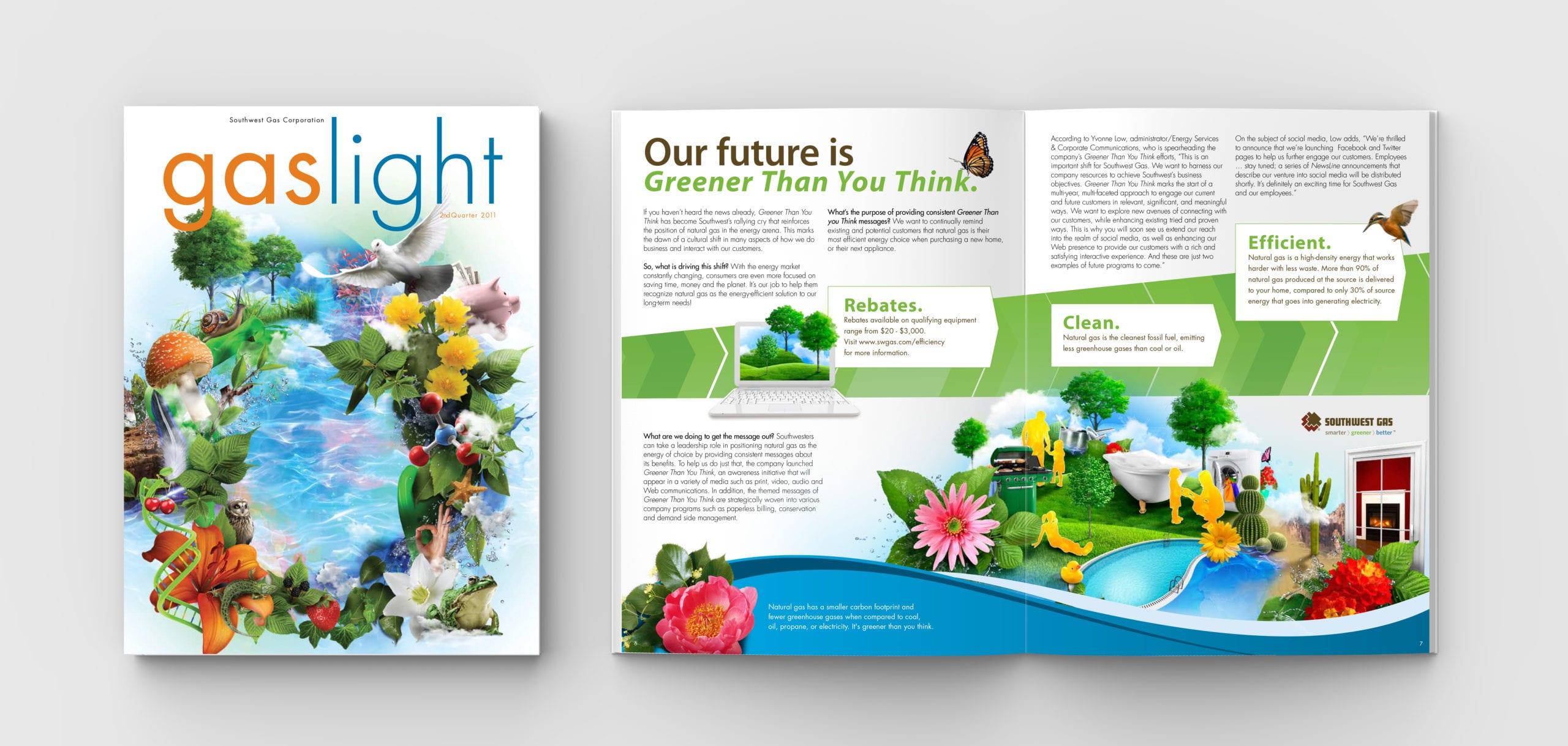 "Southwest Gas, ""Gaslight"" magazine spread designed by Canyon Creative"