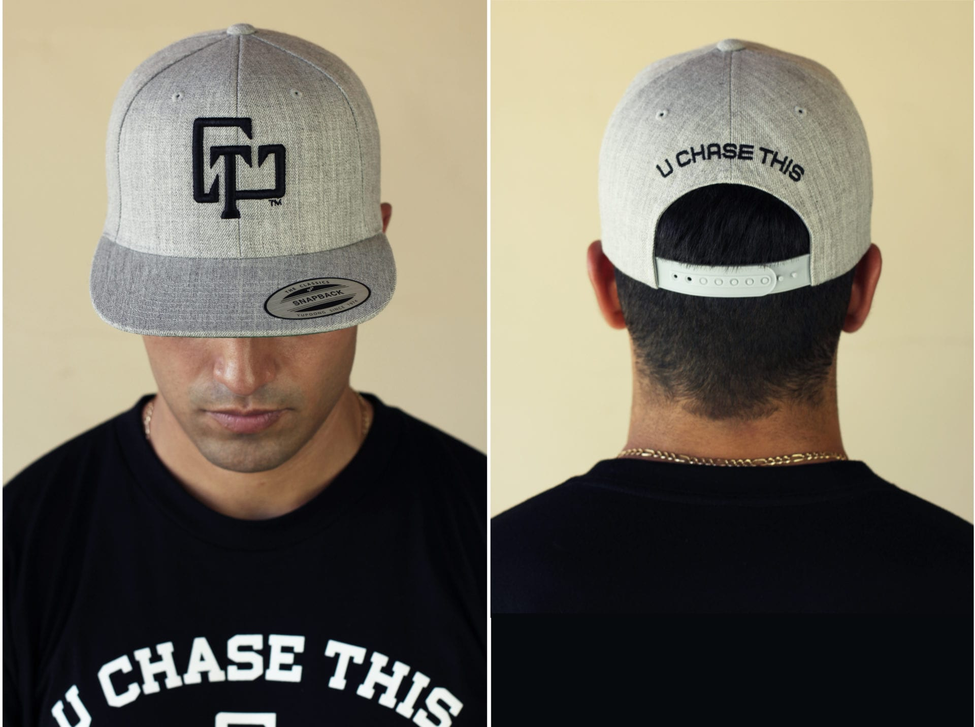 A man wearing a U Chase This baseball cap and t-shirt