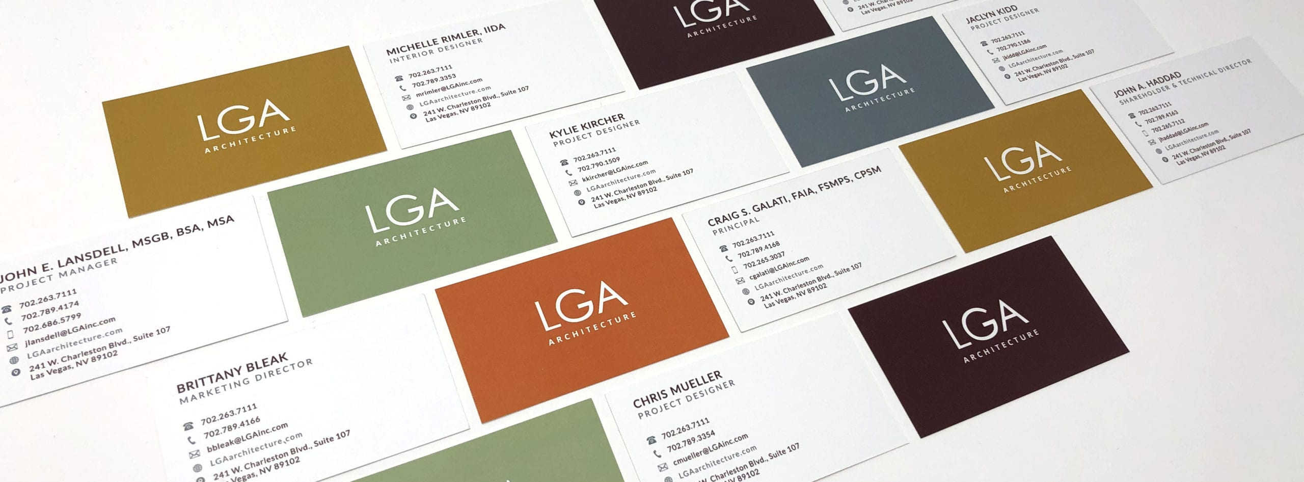 A group of business cards for LGA Architecture, designed by Canyon Creative