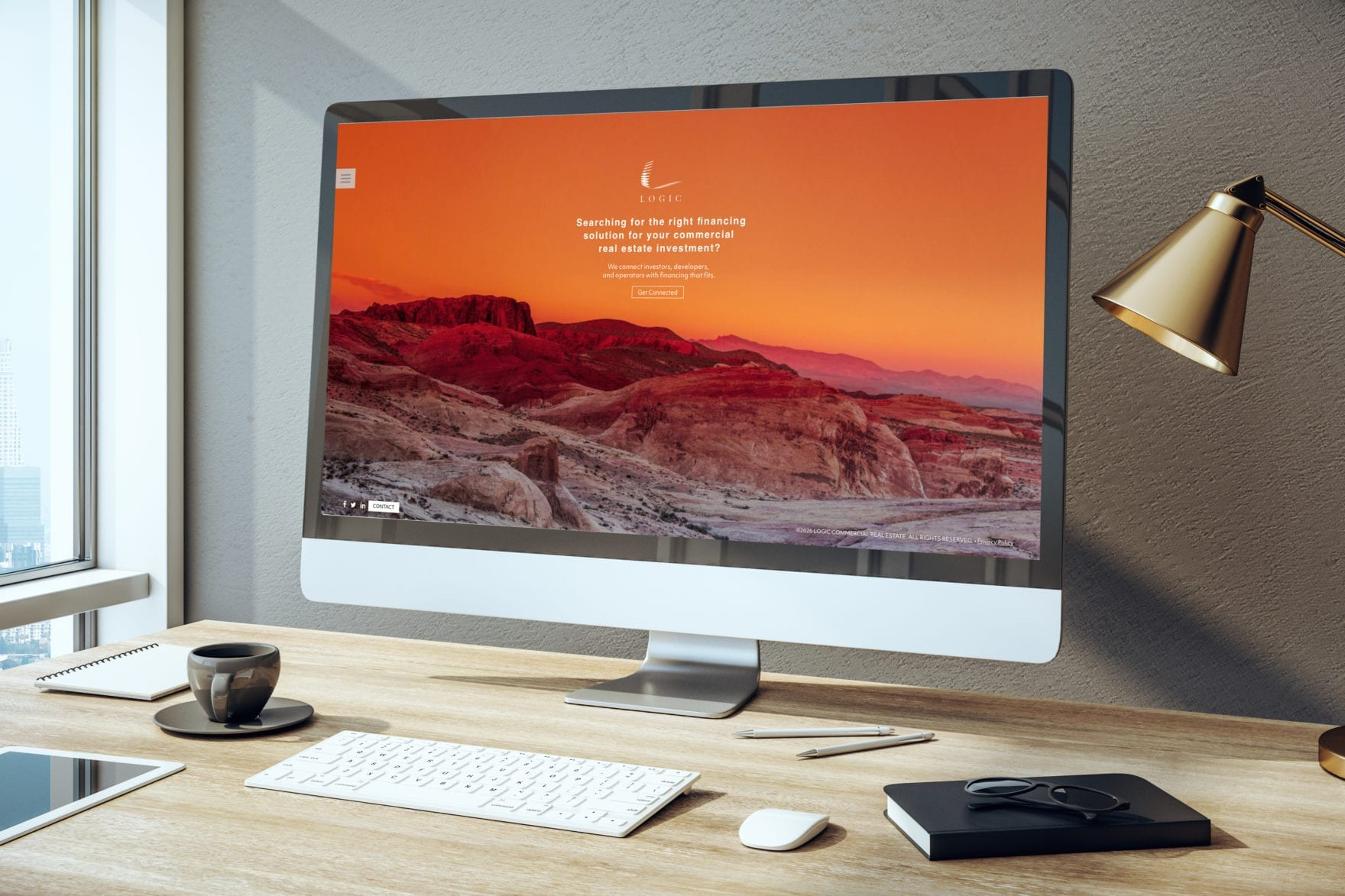 An iMac computer displaying the Logic website, created by Canyon Creative