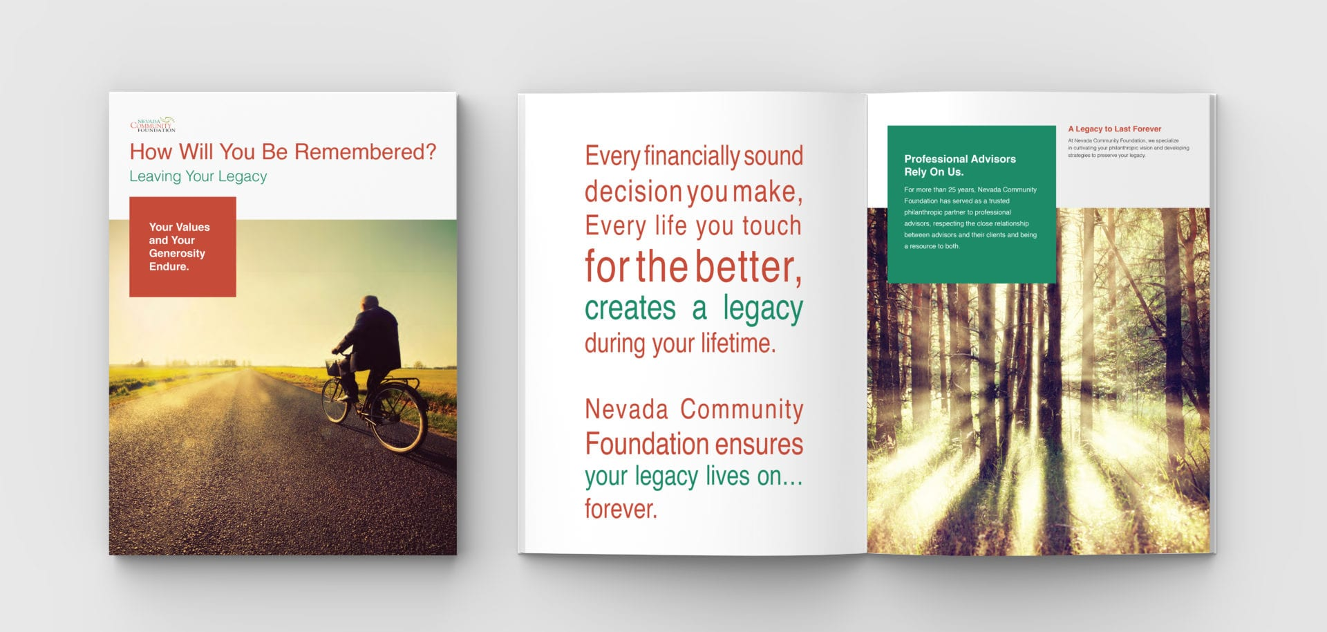 The brochure for the Nevada Community Foundation, designed by Canyon Creative