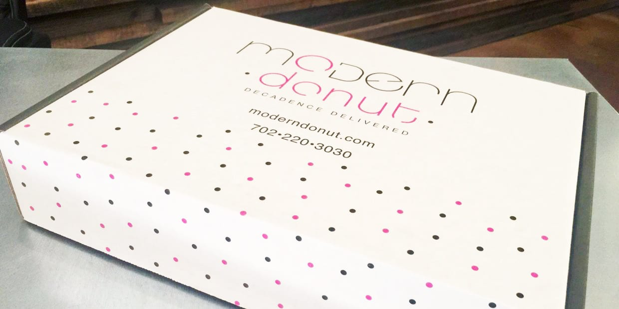 The top cover of a Modern Donut box