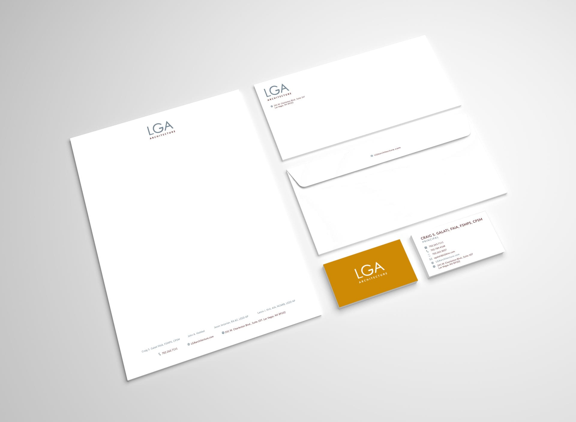 A group of logo stationary for LGA Architecture.