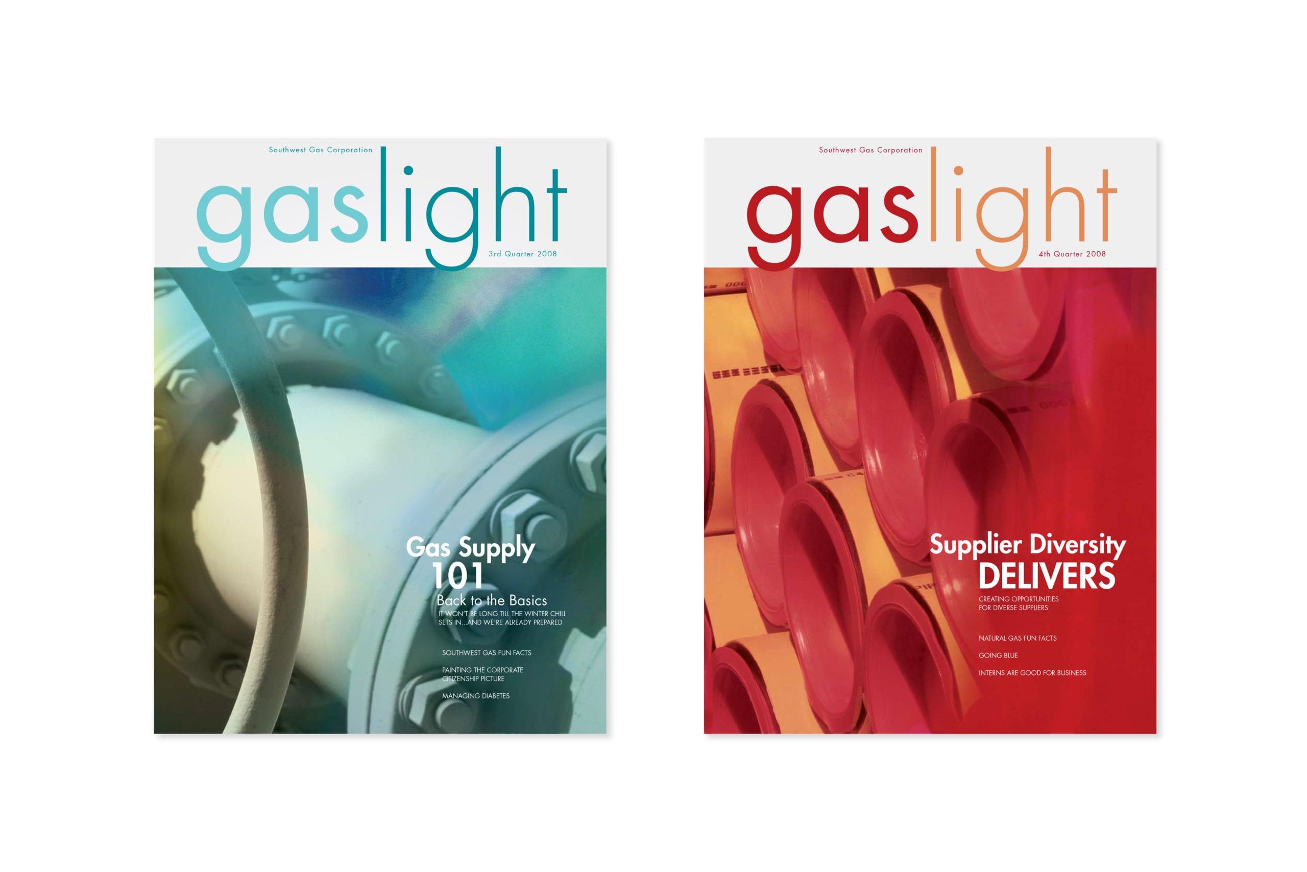 "Southwest Gas, ""Gaslight"" magazine covers, designed by Canyon Creative."