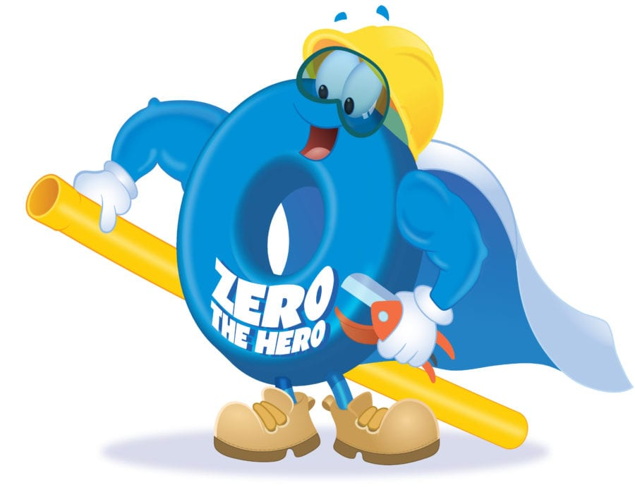 """""""Zero the Hero"""", a blue zero cartoon character designed for Southwest Gas' campaigns."""