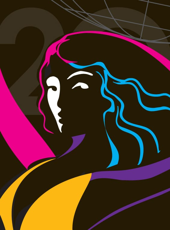 An artistic graphic design of a woman in pink, purple, blue and yellow, for the Themed Entertainment Association