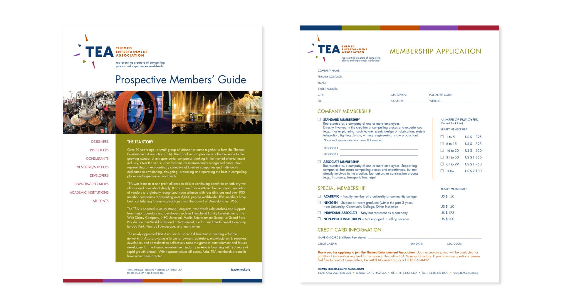 A membership application and prospective members' guide for the Themed Entertainment Association