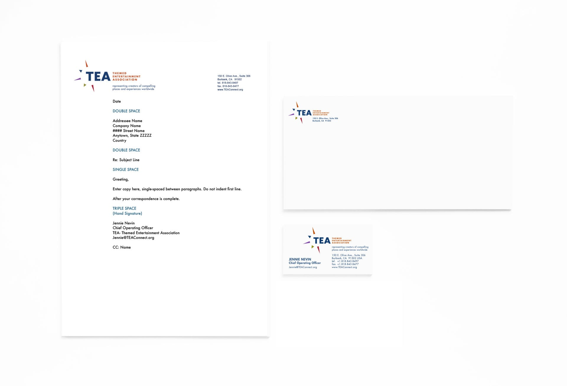 Themed Entertainment Association stationary, letterheads, envelopes, and business card