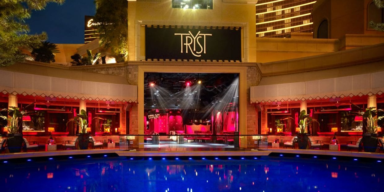 The outdoor portion of the Tryst nightclub with pool