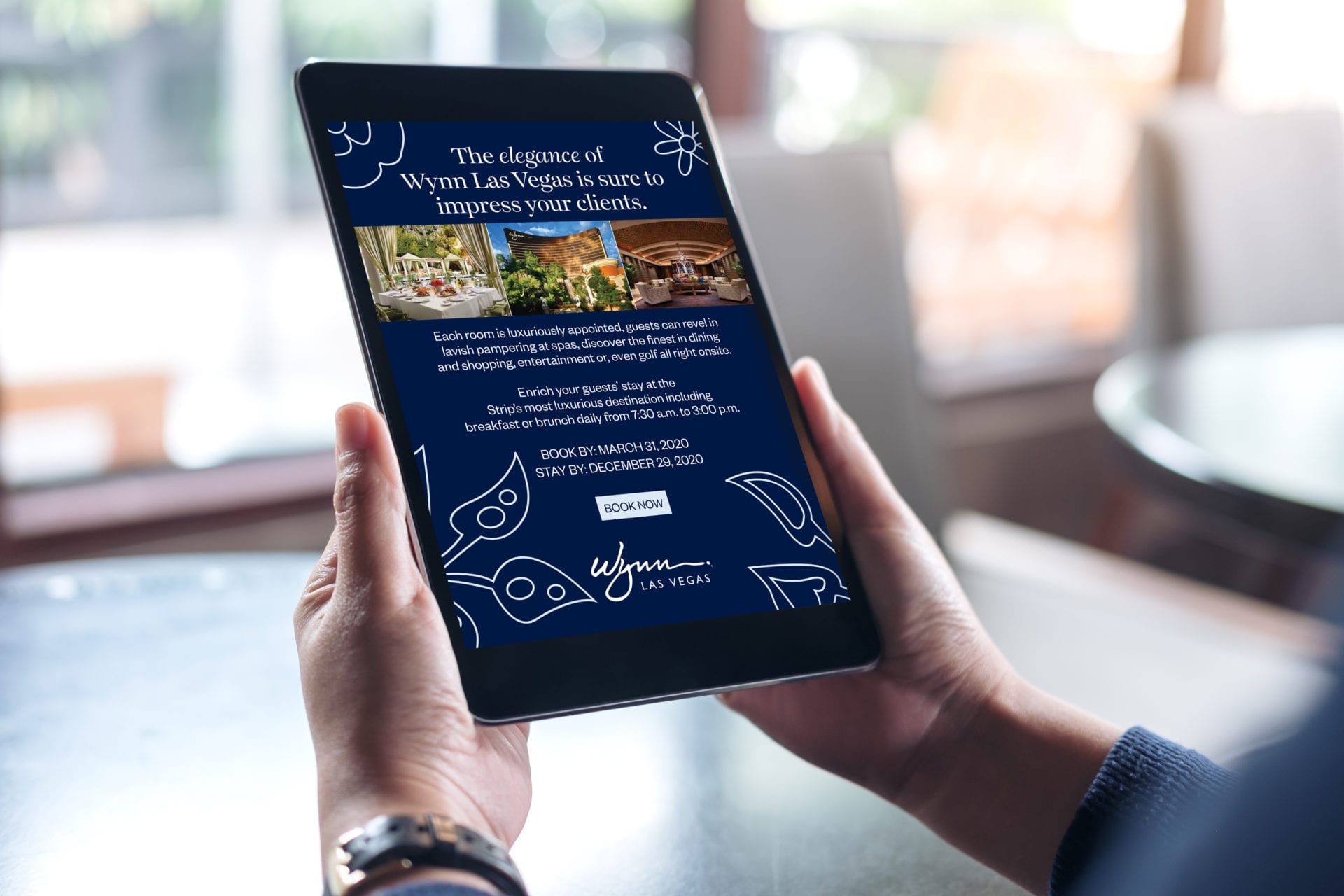 Digital advertising for the Wynn Las Vegas on a tablet, designed by Canyon Creative